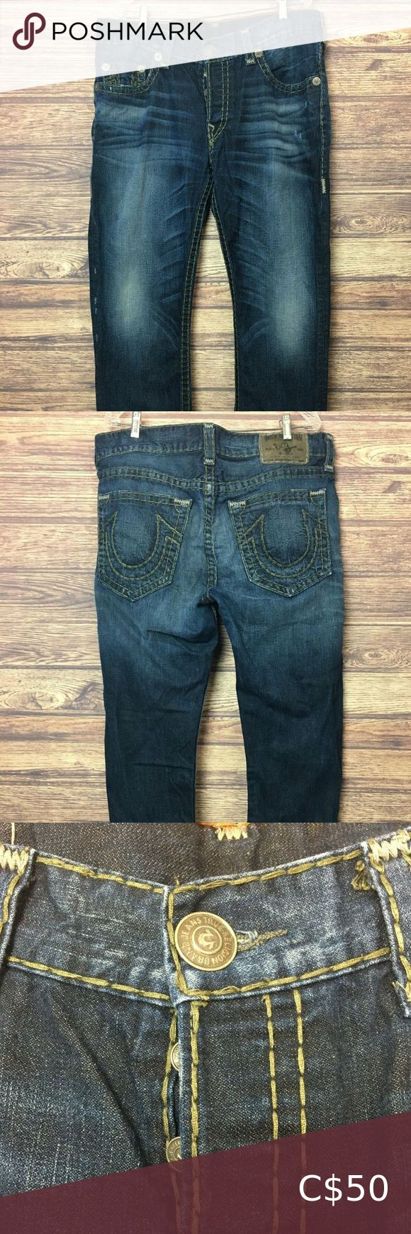 Men's True Religion Geno Super T Jeans Blue Wash Men's True Religion Mens Geno Super T Jeans HEMMED Light Green Stitching. Features iconic construction with contrast super t stitch detailing to highlight the impeccable fit, fabric and wash details. Color Blue Wash. Excellent condition. See photos for full details.  Measurements:  Hemmed: 42