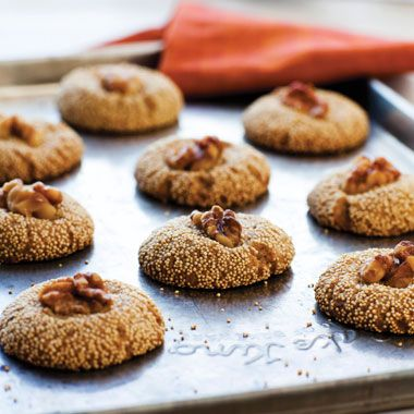 Scrummy Amaranth-Walnut Cookies with Brandy are high-protein and gluten free. Find this & other whole grain recipes in ANCIENT GRAINS FOR MODERN MEALS on our shelf here: http://vapld.aquabrowser.com/?itemid=|library/marc/val-horizon|1095228