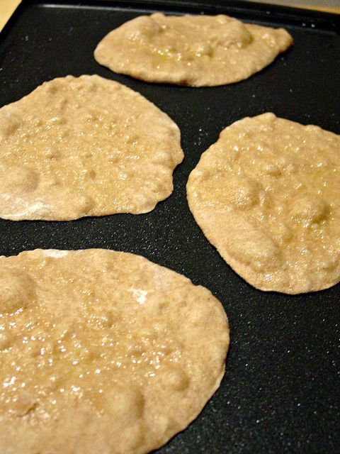 Supper fast and healthy flat bread. Delicious as a pizza crust or a flat bread.