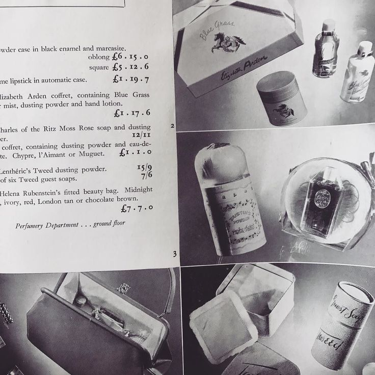 Putting together your Christmas Gift Guides? We found this Department Store Christmas Brochure from 1951 gift sets from Lancôme Tweed Arden Coty