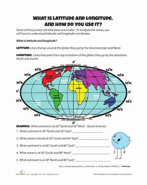 longitude and latitude worksheets   Fourth Grade Geography Worksheets: Latitude and Longitude