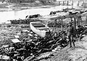 Rape of Nanking China by Japan.  Massacred victims on the shore of the Qinhuai River with a Japanese soldier standing nearby DateDecember 13, 1937 – January 1938 LocationNanjing, China Result50,000–300,000 dead (primary sources)[1][2] 40,000–300,000 dead (scholarly consensus)[3] 300,000 dead (Chinese government, scholarly consensus in China)[4][5][6]