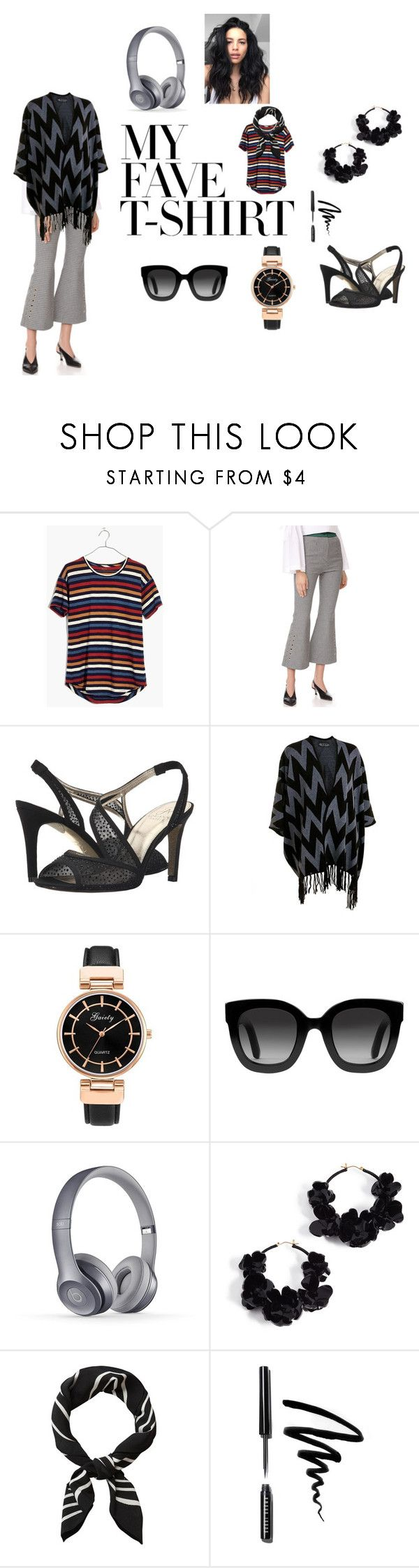 """Little Striped Shirt"" by rocky-springs-vintage on Polyvore featuring Madewell, Romanchic, Adrianna Papell, Gucci, Oscar de la Renta, Bobbi Brown Cosmetics and MyFaveTshirt"