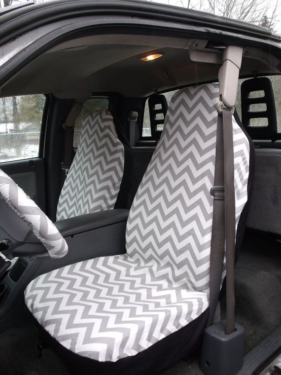 1 Set Of Grey And White Chevron Print Seat Covers And 1