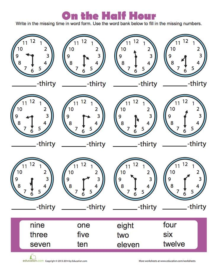 Time To The Half Hour Worksheet Education Com Word Bank Telling Time Unit 1st Grade Math Worksheets