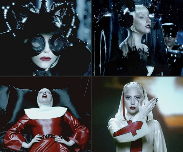 "For her ""Alejandro"" video Lady Gaga dresses herself in (clockwise from top left) a binocular head piece designed by Nasir Mazhar with a custom made cape from Alexander McQueen, an Alexander McQueen Lace ensemble along with a rose headdress from Philip Treacy, a custom nun costume designed by Atsudo Kudo and a custom made rubber outfit by Jaiden rVa James."