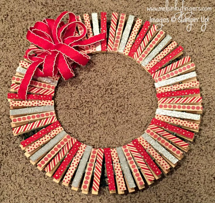 Stampin Up Christmas Craft Fair Ideas Part - 44: Simple Christmas Wreath Made With Stampinu0027 Up! Washi Tape.  Www.melsinkyfingers.