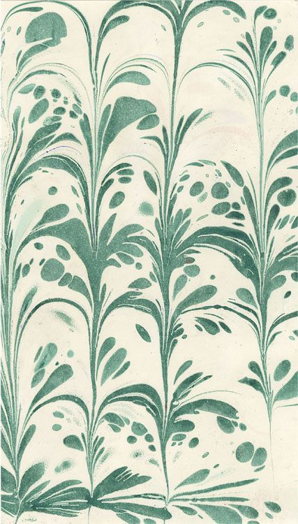 Marbled paper used in bookbinding, several examples and explanations of how to replicate