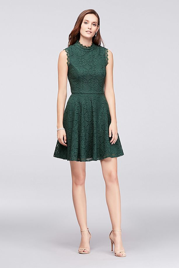 3861fd3077c Mock-Neck Lace Fit-and-Flare Dress