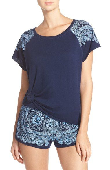 Lucky Brand Print Shoulder French Terry Lounge Top available at #Nordstrom