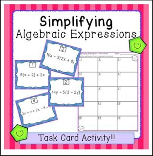 """FREE MATH LESSON - """"Simplifying Algebraic Expressions Task Card Activity (SCOOT!)"""" - Go to The Best of Teacher Entrepreneurs for this and hundreds of free lessons. 7th - 8th Grade  #FreeLesson   #Math http://thebestofteacherentrepreneursiv.blogspot.com.co/2016/03/free-math-lesson-simplifying-algebraic.html"""