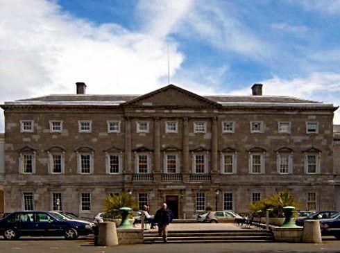 Leinster House on Kildare Street houses the Oireachtas.