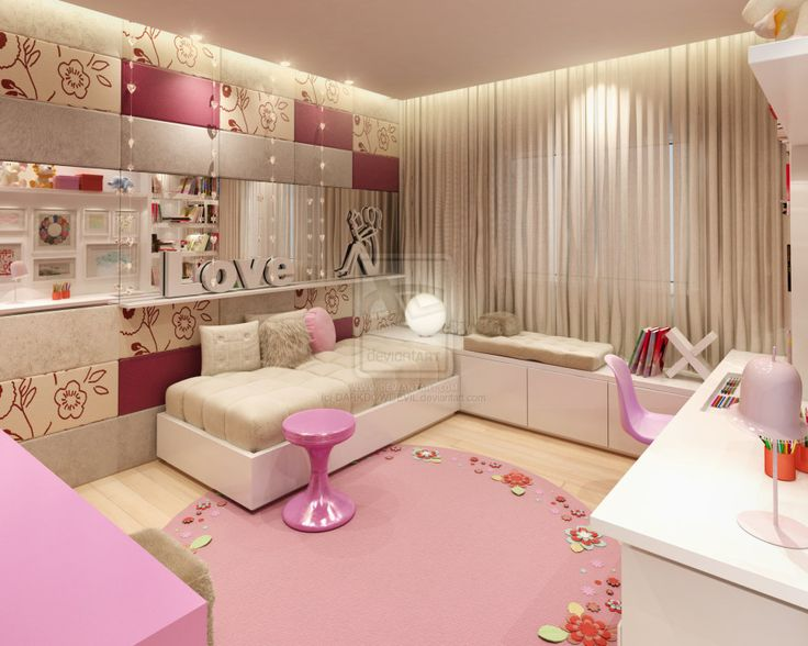 Luxury Pink And Light Brown Teenage Room Ideas With Cool Lighting And Furniture With Comfy Bed And Long Desk And Round Rug And Stylish Curtains With Fancy Walls: Teenagers Room ideas Interior Colourful