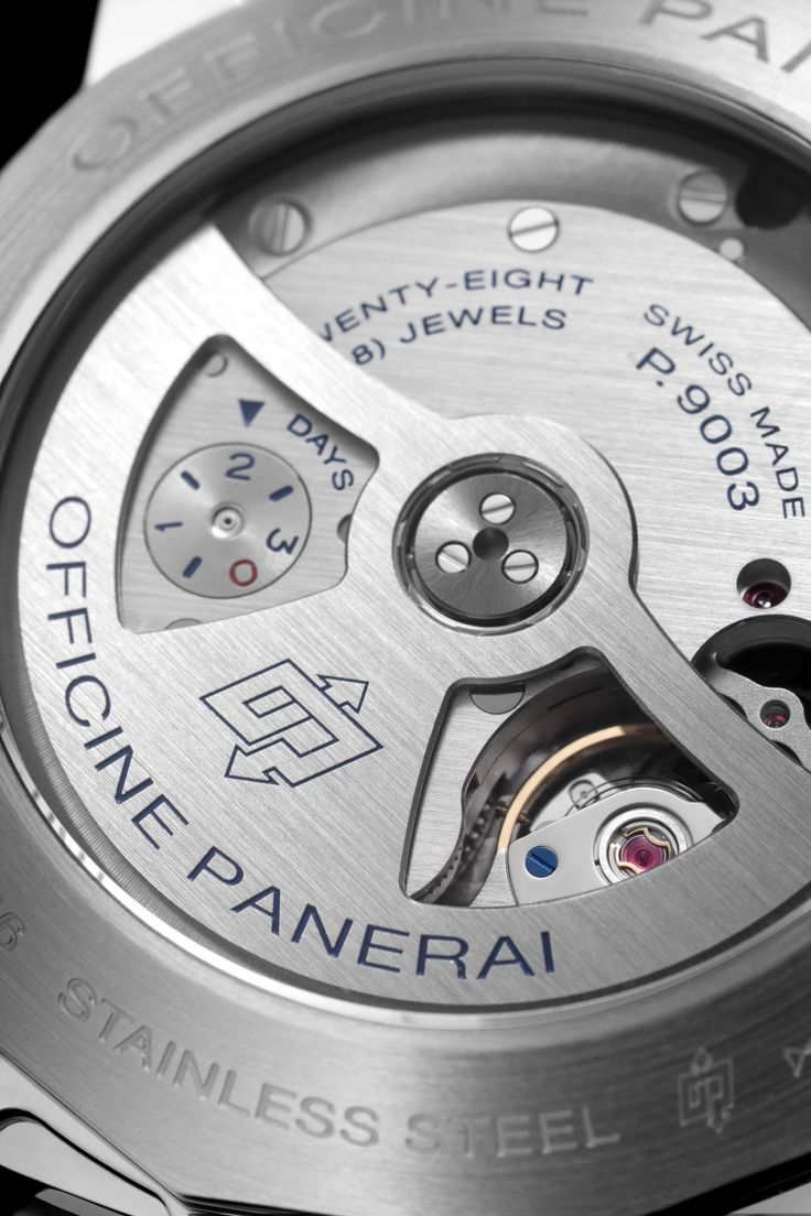 Panerai automatic P.9003 caliber with its innovative circular power reserve indicator on the reverse side