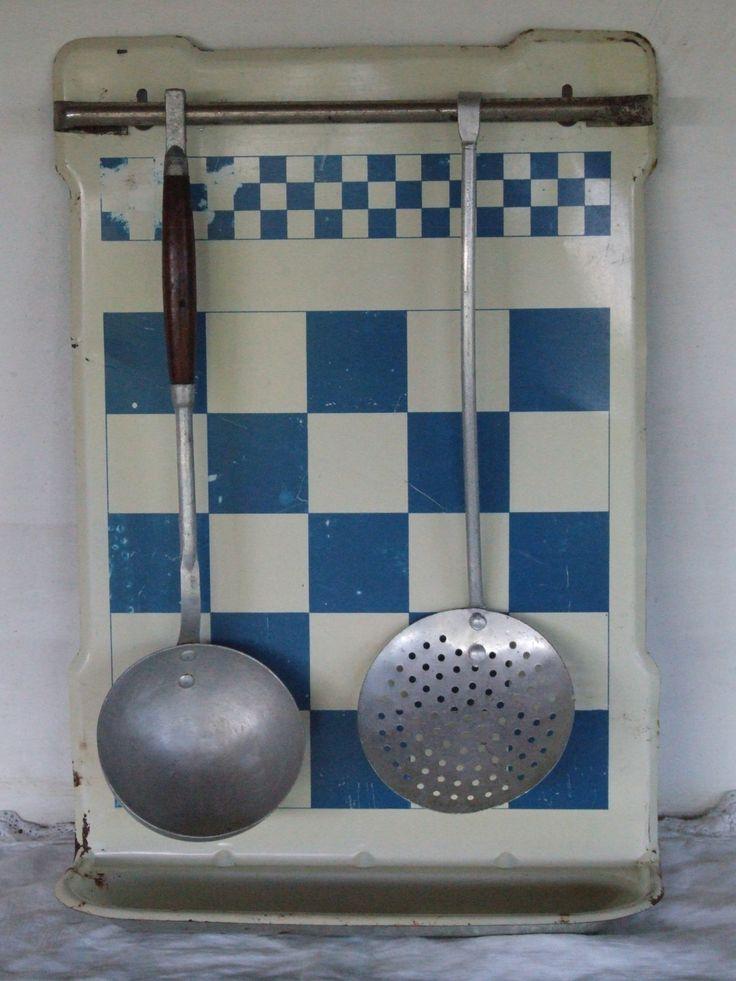 Enamel Utensil Rack// French Vintage Blue and White Checkered Utensils Drip Tray//Utensil Rack - pinned by pin4etsy.com