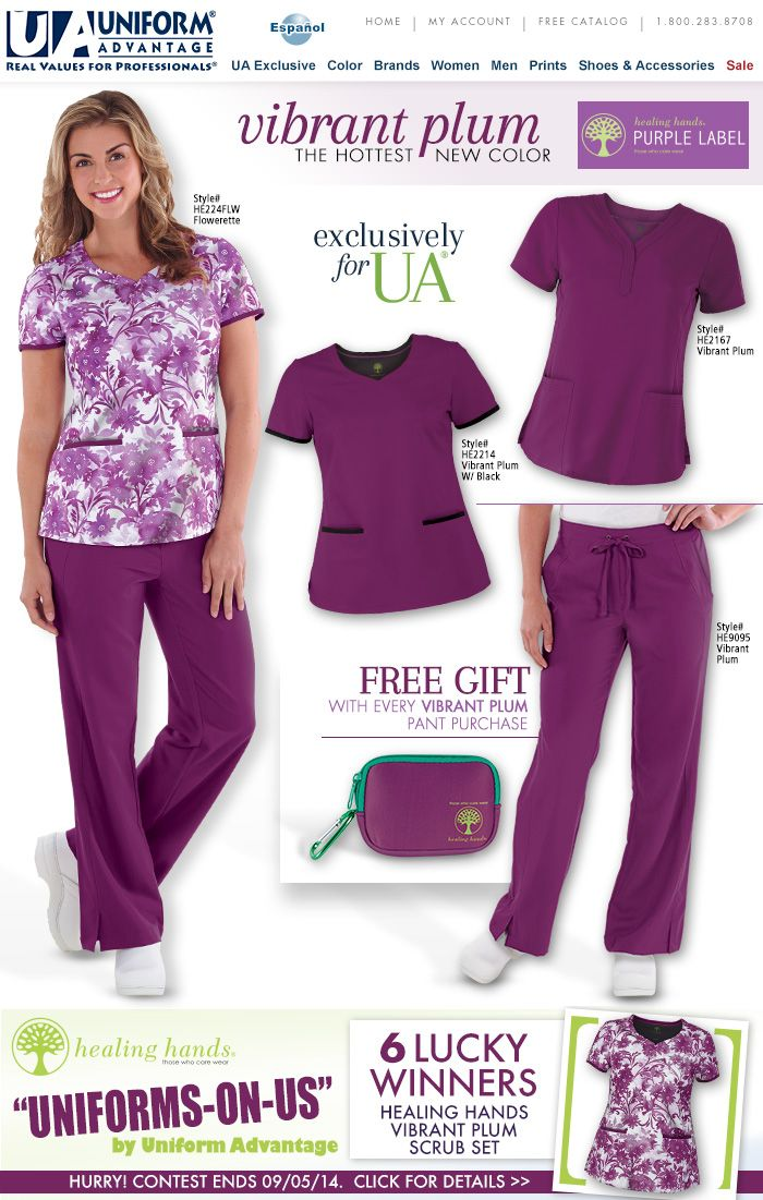 Load up on the hottest new color – Vibrant Plum! Made exclusively for UA by Healing Hands, this color will make a bold statement in the office! http://bit.ly/1B9MyuV PLUS enter our Uniforms-On-Us Facebook contest today! Hurry! Contest closes 9/5/2014. http://on.fb.me/1plHqeF  #scrubs #nurse #nurselife #fashion #uniformadvantage