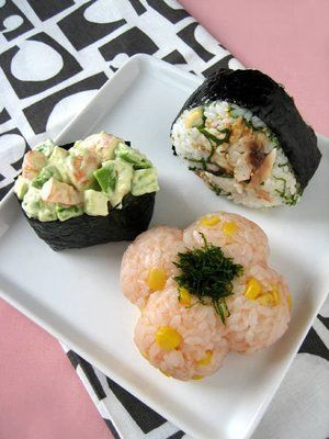 Japanese rice balls, Onigiri with cod roe, shrimp, and dried horse mackerel たらこ、海老、あじのおにぎり