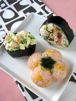 Japanese rice balls, Onigiri with cod roe, shrimp, and dried horse mackerel たらこ、海老、あじのおにぎり
