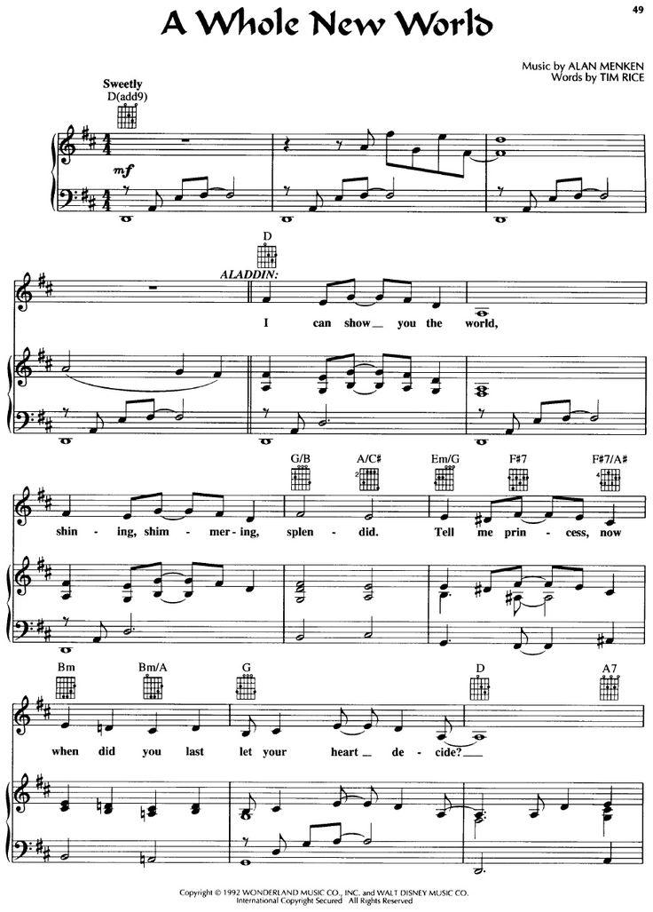 Aladdin-A Whole New World Piano Sheet | Scribd