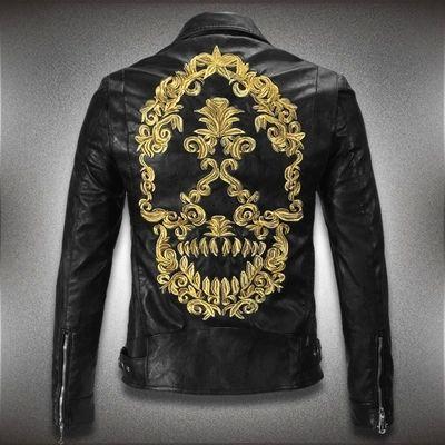 Cheap Stile punk nuovo 2015 3d del cranio giacca di pelle uomini tyrant ricamo biker/marca giacca moto uomo cappotto jaqueta couro xxxl, Compro Qualità Cuoio & pelle scamosciata direttamente da fornitori della Cina: