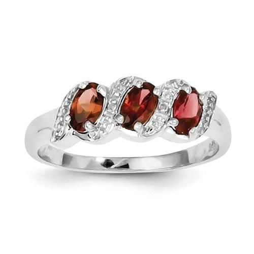 Sterling Silver Natural Garnet 3 Stone & Diamond Ring