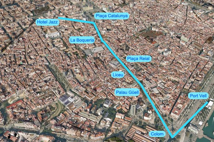 Walking tour from Hotel Jazz | Hotel Jazz accommodation in the centre of Barcelona is the ideal base for guests to explore the rest of the city.
