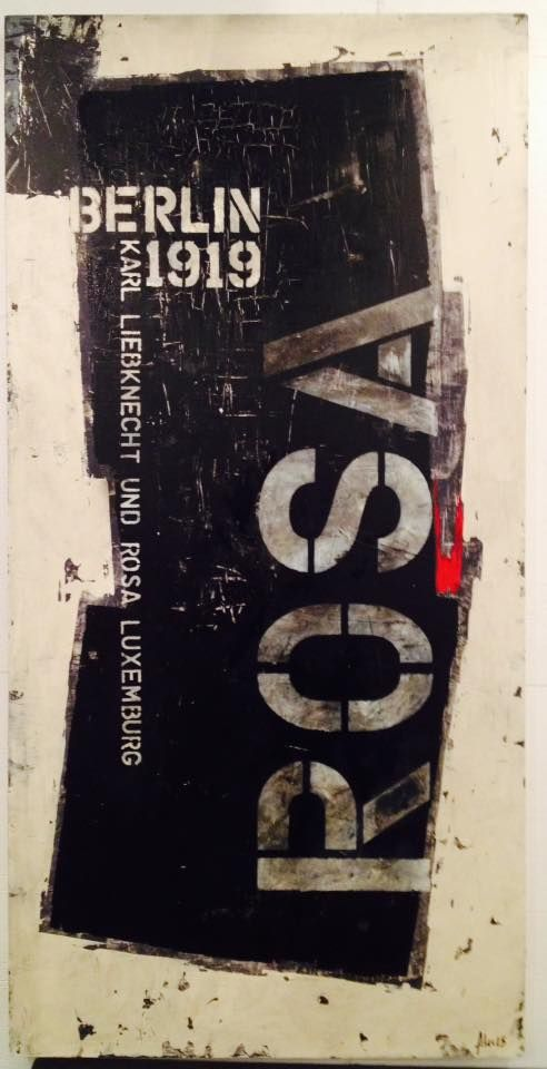 """BERLIN - Rosa Luxemburg 2015 Acrylique sur bois 24"""" x 48"""" http://alecsurfaces.blogspot.ca/"""