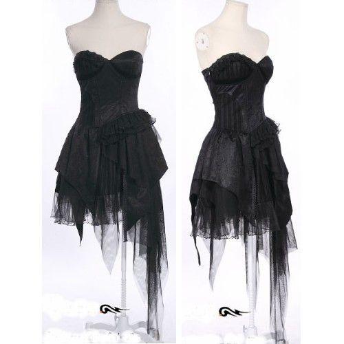 Black Lace Asymmetrical Corset Gothic Burlesque Cocktail Party Dress SKU-11402012