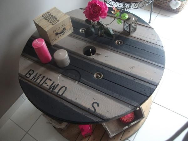 Ma table basse ma table touret bobine pinterest tables album et photos Touret bois table basse