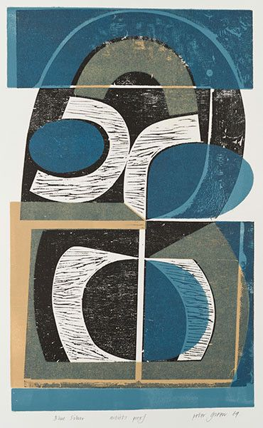 Blue Silver by Peter Green woodblock and stencil from 1960s