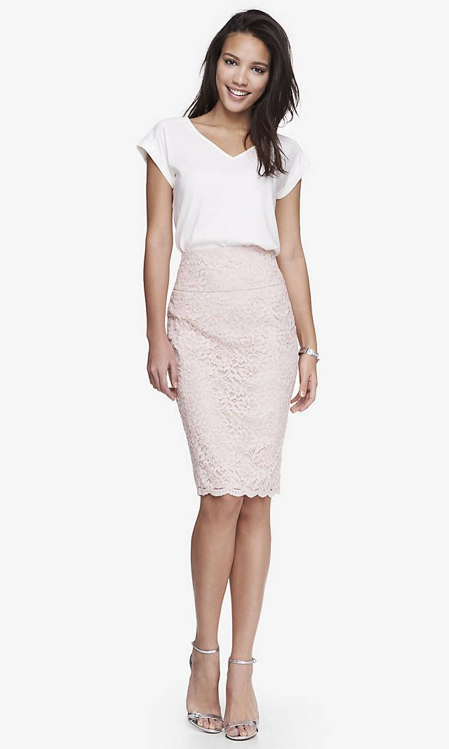 Pale Pink Lace Skirt- to go with a black blazer, black pumps/flats, pink Nine West Right Angles Satchel, white cami...