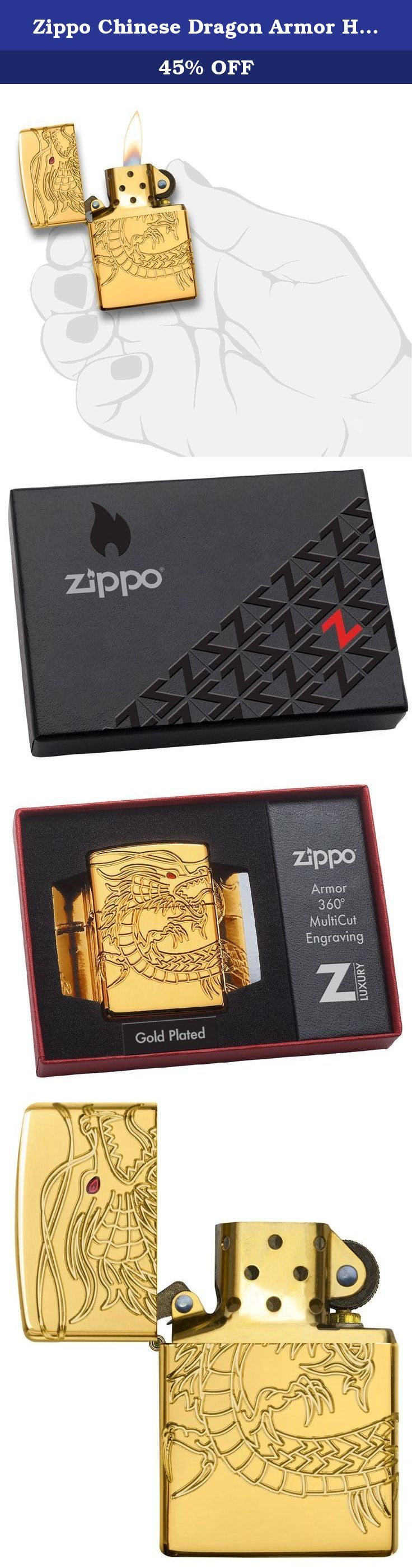 Zippo Chinese Dragon Armor High Polish Gold Plate Pocket Lighter. Seamless, wrapped 360-degree Multicut carving across the front,sides, and back of an Armor gold plated lighter brings this Asian dragon to life. Translucent red epoxy inlay and gold plated inside unit add to the mystique. Special pacakaging will draw interest to this 360-degree MultiCut Armor design. For optimal performance, fill with Zippo premium lighter fluid.