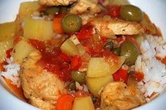 Fricase De Pollo A Lo Cubano. A Cuban take on chicken cacciatore.