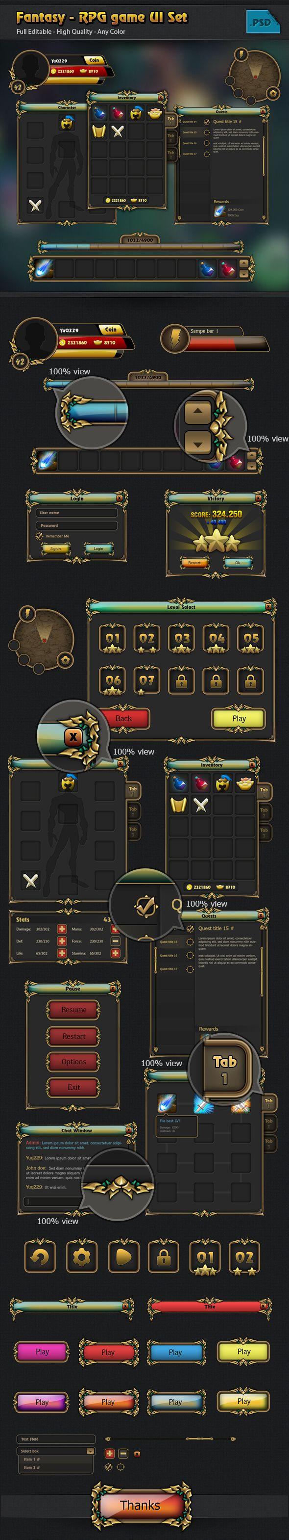 RPG game Gui set_by Ryan Do_from Behance (https://www.behance.net/Quy-dx)
