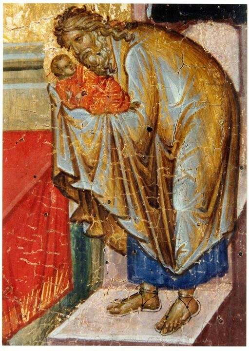 """St. Simeon the God-Receiver is described inScriptureas arighteous man who was waiting to behold theChristbefore he died. Holding Him in his arms, he uttered the prayer of praise which is known as thePrayer of Saint Simeonor by the first two words in Latin,Nunc dimittis:  """"Lord, now let Your servant depart in peace,according to Your word,for my eyes have seen Your salvation,a Light to lighten the Gentiles,the Glory of Your people Israel."""""""