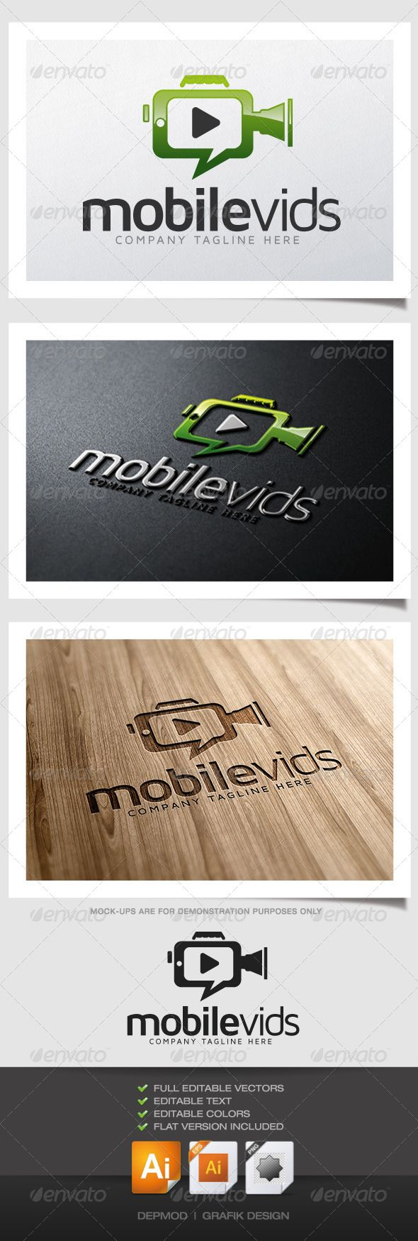 Mobile Vids - Logo Design Template Vector #logotype Download it here: http://graphicriver.net/item/mobile-vids/6183999?s_rank=687?ref=nesto