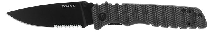 Coast TX360 Tactical Folding Knife. 9Cr18MoV stainless steel, partially serrated blade with titanium nitride coating. Checkered, fiberglass reinforced nylon handle on stainless steel frame. Patented Double Lock system. 2-position pocket clip. 3.35 in. blade length; 7.88 in. overall length; 3.7 ounce weight.