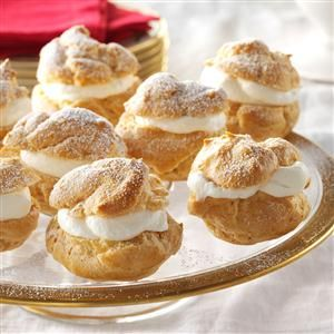 Eggnog Cream Puffs Recipe -Combine two Christmas classics–eggnog and cream puffs–in this recipe. I've received a number of rave reviews and recipe requests, so I think this one goes on the nice list! —Kristen Heigl, Staten Island, New York