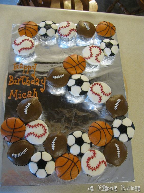 sport party baseball and basketball cake. Best Birthday Pull Apart Cupcake Cakes. Simple creative cake inspiration for a birthday party celebration.