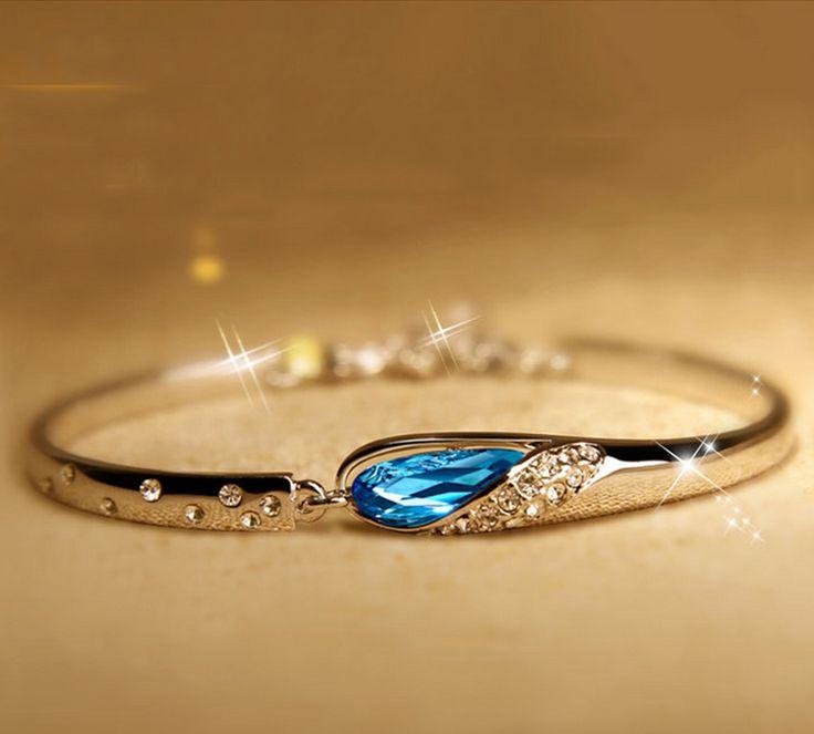 Aliexpress.com: Compre Moda pulseira de cristal para as mulheres do vintage 925 pulseira de prata em jóias presente romântico para 2015 de confiança pulseira elástica fornecedores em I Handmade