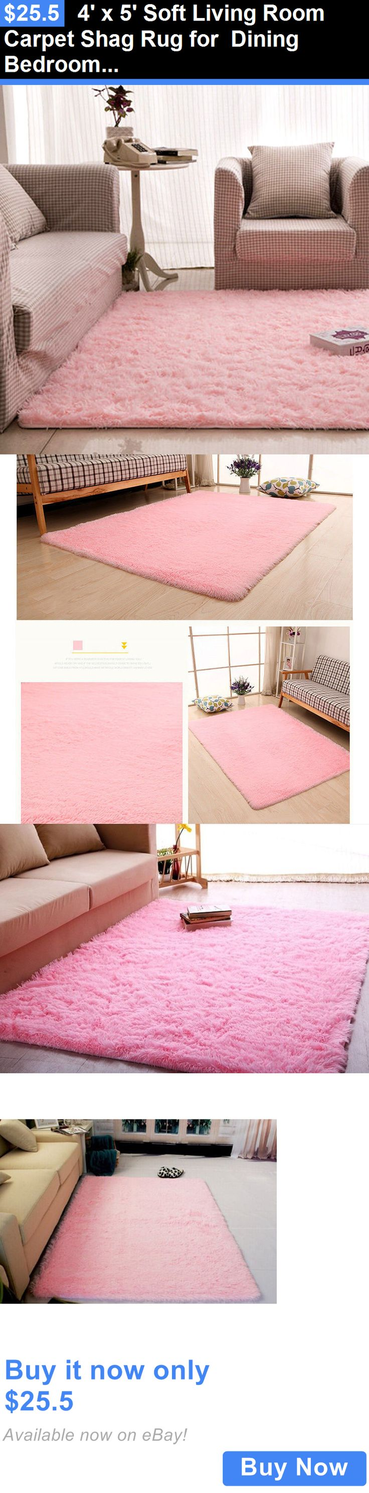 Kids Rugs: 4 X 5 Soft Living Room Carpet Shag Rug For Dining Bedroom Children Play Pink BUY IT NOW ONLY: $25.5