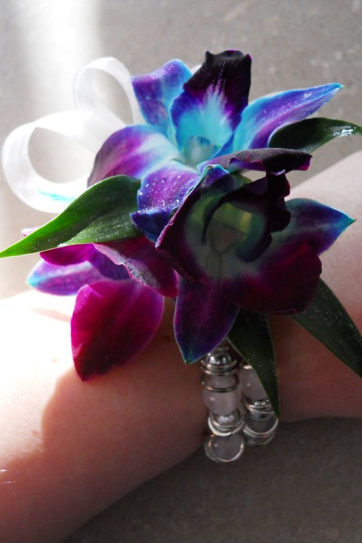 FREE CORSAGE TUTORIALS http://www.wedding-flowers-and-reception-ideas.com/how-to-make-a-corsage.html  Bright blue dyed dendrobium orchids are clustered on a jeweled corsage bracelet and accented with ruscus leaves and sheer white ribbon.  Buy everything you need for your own DIY corsages and boutonnieres. #wedding #corsage