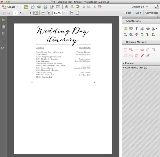 FREE, simple wedding day itinerary card printable!