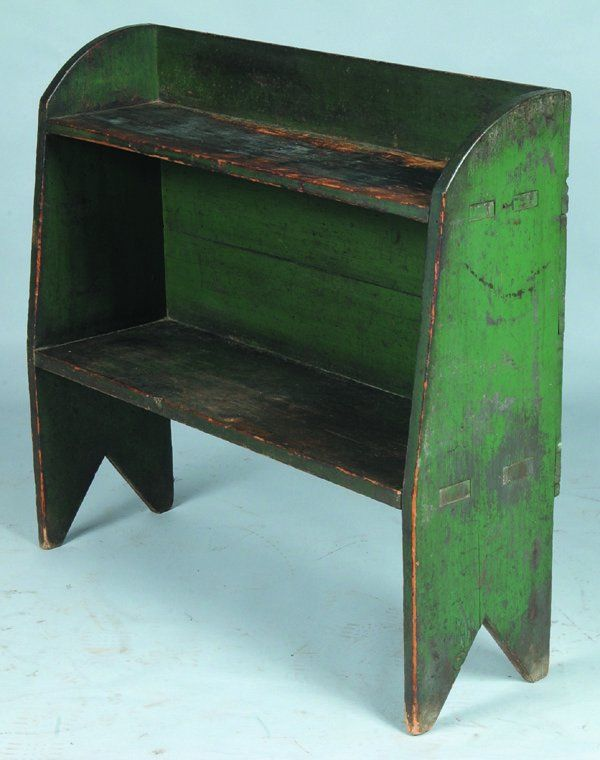 """Good PA Softwood Green Painted Bucket Bench, two mortise and tenon shelves, curve shaped top and v-cut out feet, 36""""h. x 39-¼""""w. x 12""""d."""