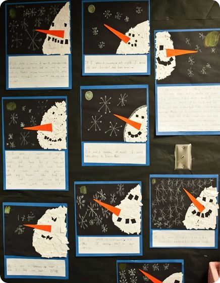 "After reading ""Snowmen at Night"" - make tear art snowmen and write ""If I were a snowman at night, I would..."""
