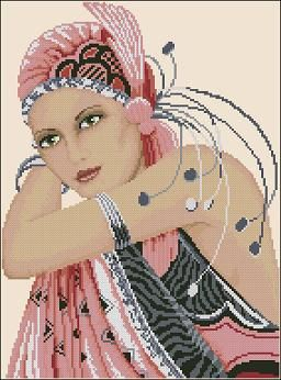 "Wow...Don't know if I'd ever attempt it, but I like it...  Free cross-stitch pattern ""Odalisque"""