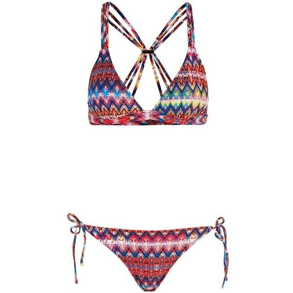 Bright Aztec Triangle Bikini Top and Bottoms - Topshop ($51) ❤ liked on Polyvore featuring swimwear, bikinis, aztec bikini, swimsuits tops, triangle swimsuit top, aztec swimwear and swim tops