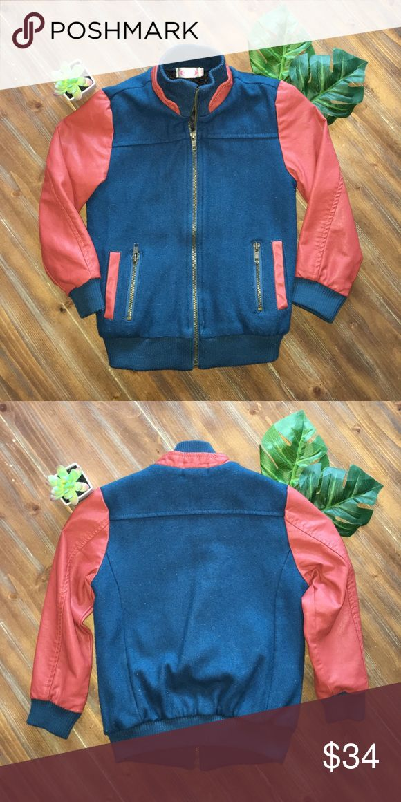 AWESOME boys bomber jacket!! 💣 AWESOME boys bomber jacket in size 3T ::runs a little big:: made from 65% cotton 35% polyester and faux leather arms! Accepting all reasonable offers!! Jackets & Coats