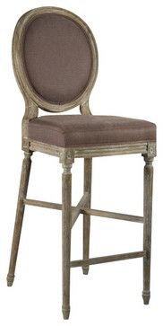 Medallion Bar Stool - Aubergine/Limed Grey - traditional - bar stools and counter stools - Zentique