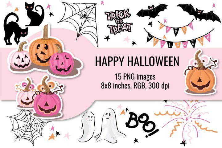 Cute Halloween Cliparts Pink Halloween Clip Art 902908 Illustrations Design Bundles Halloween Clips Cute Halloween Halloween Clipart